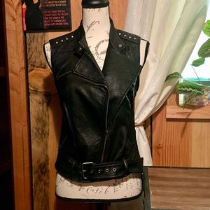 Black Faux Leather Moto Vest